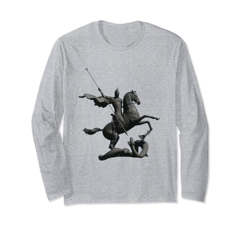 Unisex Long Sleeve T-Shirt Saint George and the Dragon Heather Grey