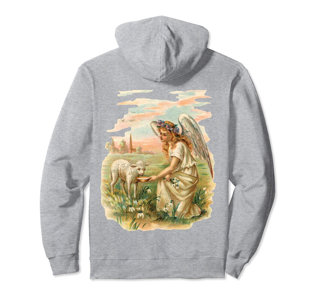 Pullover Hoodie Sweatshirt with Angel Feeding Lamb Grey