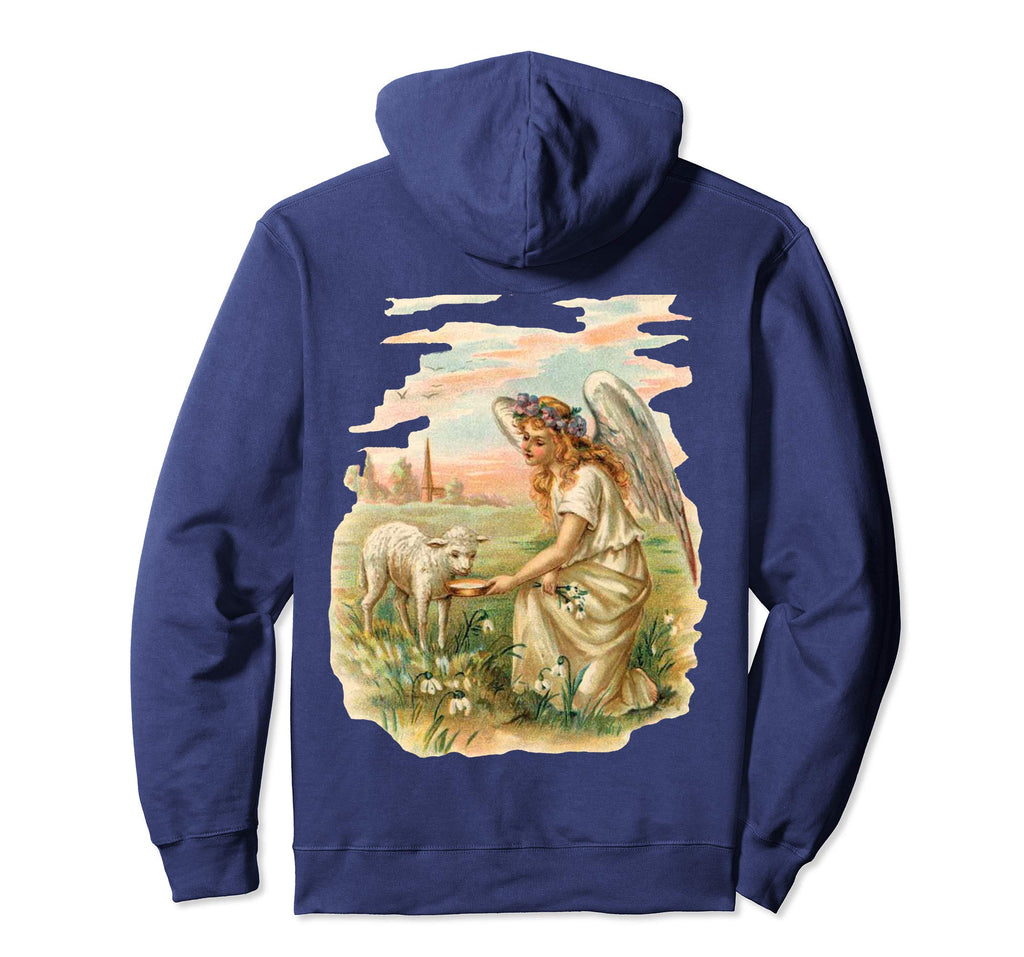 Pullover Hoodie Sweatshirt with Angel Feeding Lamb Navy