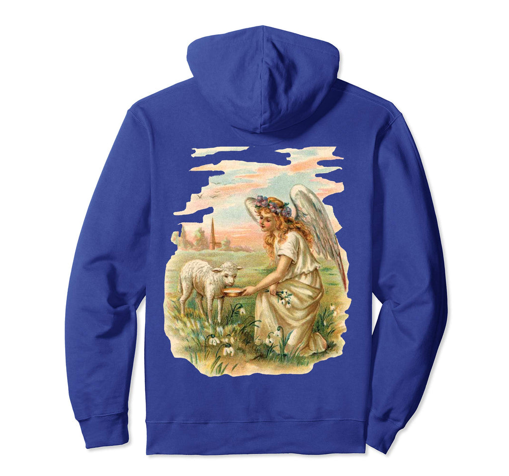 Pullover Hoodie Sweatshirt with Angel Feeding Lamb Royal Blue