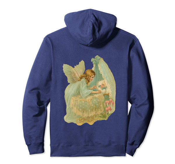 Pullover Hoodie Sweatshirt with Angel over Bassinet Navy