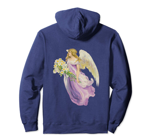 Unisex Pullover Hoodie Sweatshirt with Purple Angel and Lilies Navy