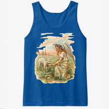 Unisex Cotton Tank Top with Antique Angel Feeding a Lamb Art Print