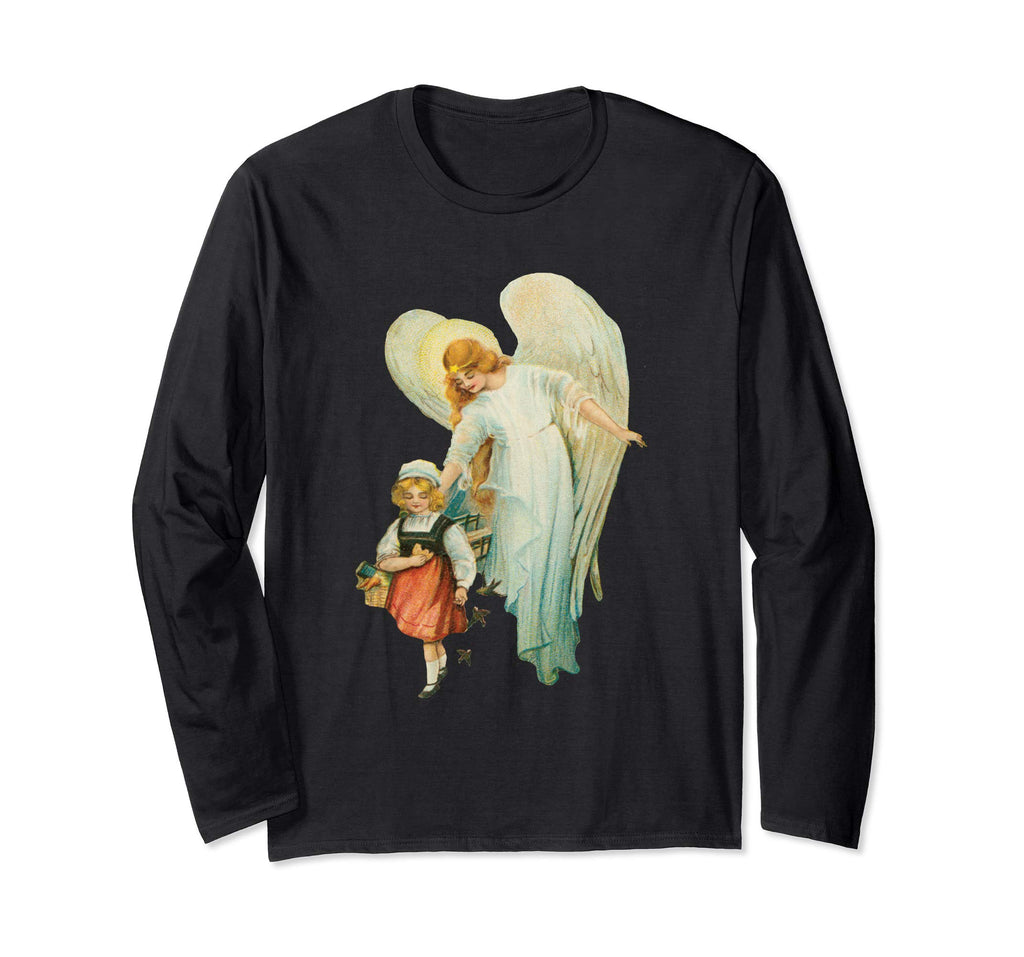 Unisex Long Sleeve T-Shirt Guardian Angel with Girl Black