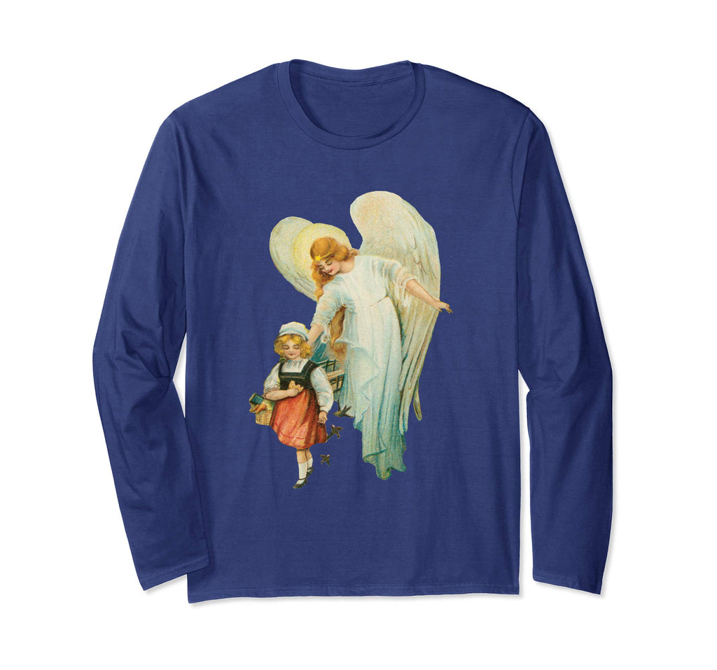 Unisex Long Sleeve T-Shirt Guardian Angel with Girl Navy