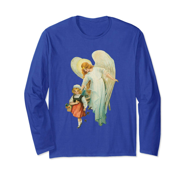 Unisex Long Sleeve T-Shirt Guardian Angel with Girl Royal Blue