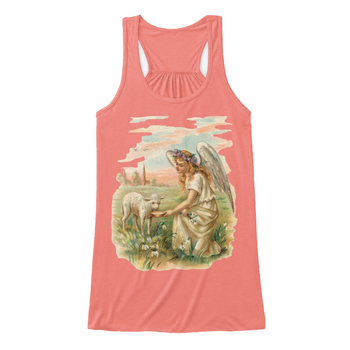 Womens Flowy Tank Top with Antique Angel Feeding a Lamb Coral Front