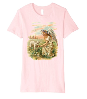 Womens Cotton Tee Premium T-shirt Gift for Mom Angel Feeding a Lamb Pink