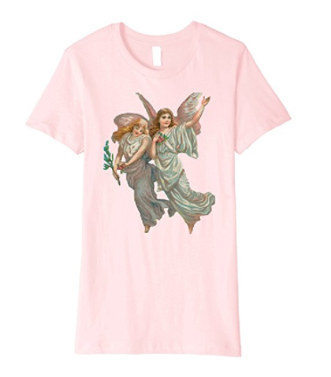 Womens Cotton Tee T-shirt Gift for Mom with Heavenly Angel Art Pink