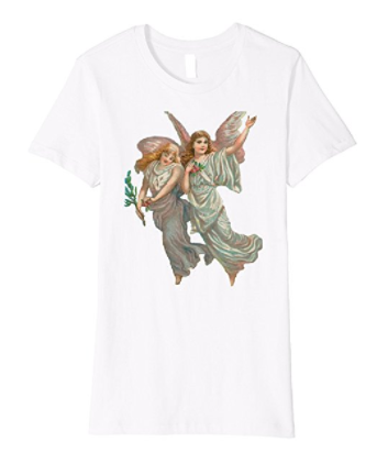 Womens Cotton Tee T-shirt Gift for Mom with Heavenly Angel Art White