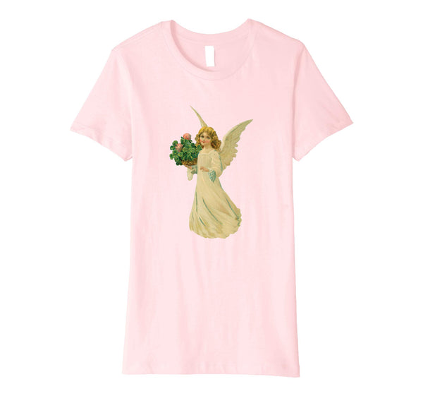 Womens Cotton Tee T-shirt Gift for Mom with Angel and Clover Art Pink