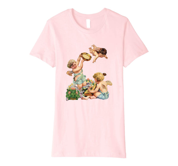 Womens Cotton Tee T-shirt Gift for Mom with Cherubs Playing Music Art Pink