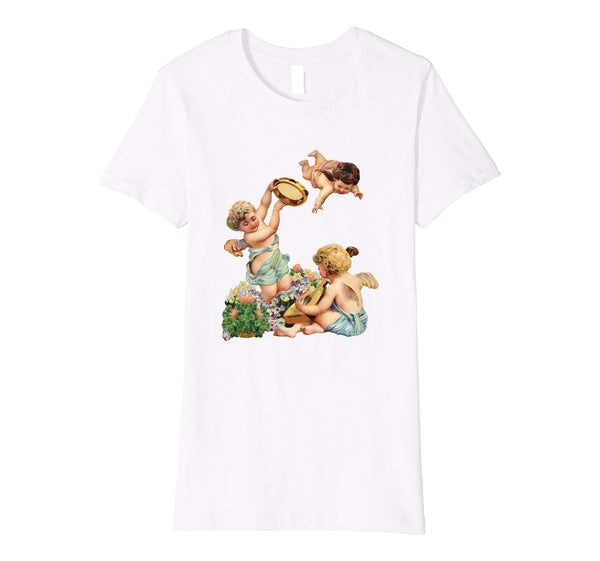 Womens Cotton Tee T-shirt Gift for Mom with Cherubs Playing Music Art White