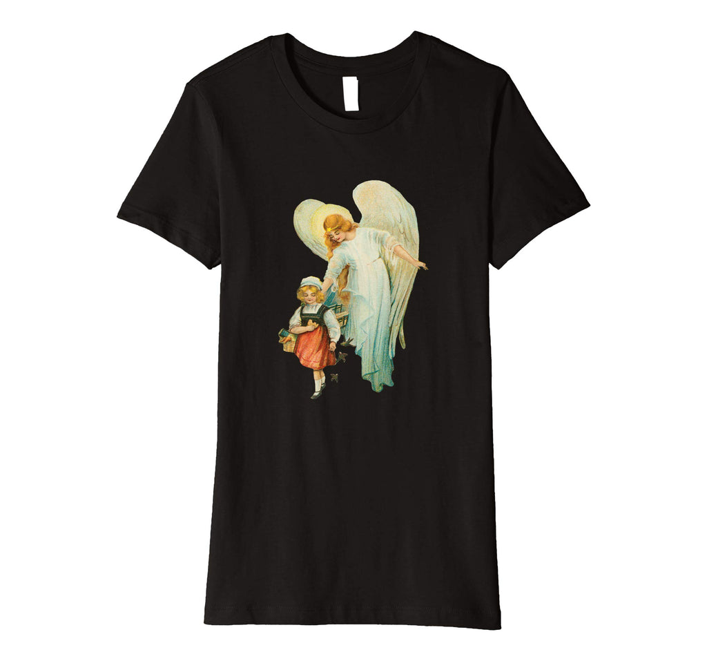 Womens Cotton Tee T-shirt Gift for Mom with Guardian Angel and Girl Black