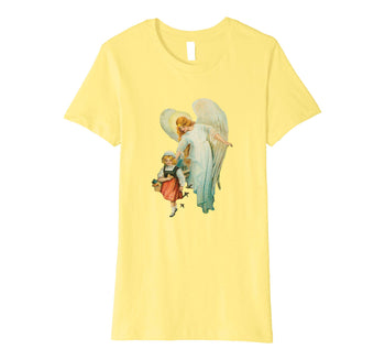 Womens Cotton Tee T-shirt Gift for Mom with Guardian Angel and Girl Lemon