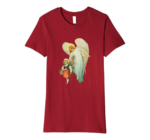 Womens Cotton Tee T-shirt Gift for Mom with Guardian Angel and Girl Cranberry