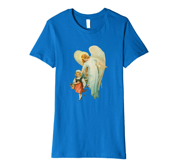 Womens Cotton Tee T-shirt Gift for Mom with Guardian Angel and Girl Royal Blue
