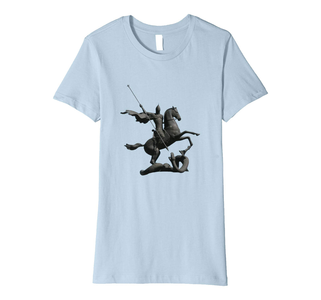 Womens Cotton Tee T-shirt Gift for Mom with Saint George and Dragon Baby Blue