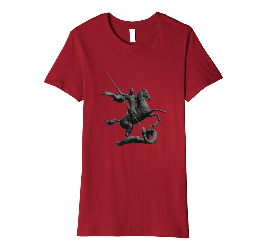 Womens Cotton Tee T-shirt Gift for Mom with Saint George and Dragon Cranberry