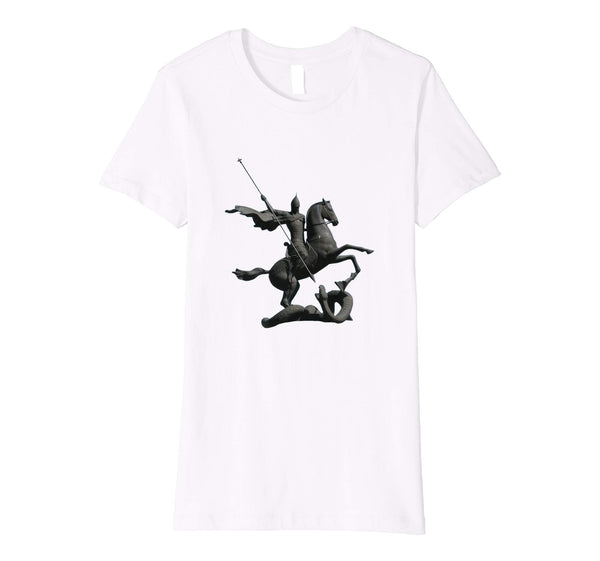 Womens Cotton Tee T-shirt Gift for Mom with Saint George and Dragon White
