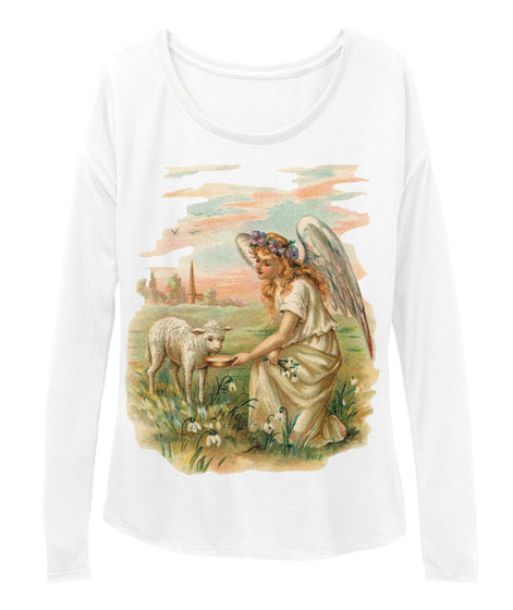 Womens Long Sleeve Tee with Antique Angel Feeding a Lamb