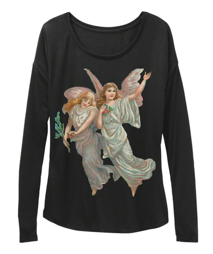 Womens Long Sleeve Tee with Heavenly Angel Art Print