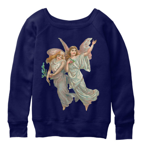 Womens Slouchy Sweatshirt with Heavenly Angel Art Print Navy