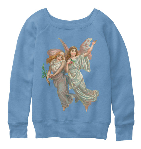 Womens Slouchy Sweatshirt with Heavenly Angel Art Print Blue Triblend