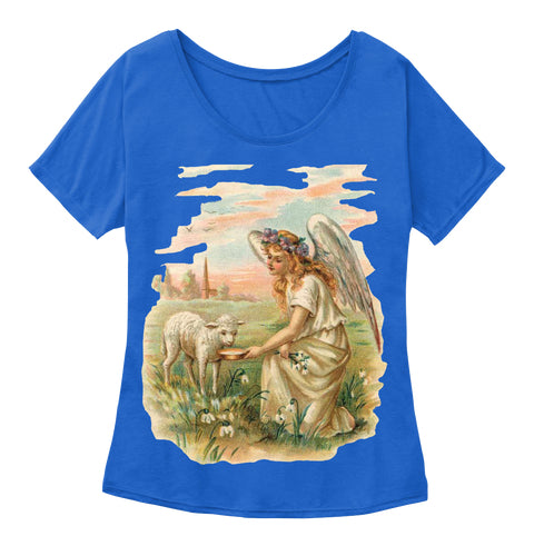 Womens Slouchy Tee with Antique Angel Feeding a Lamb