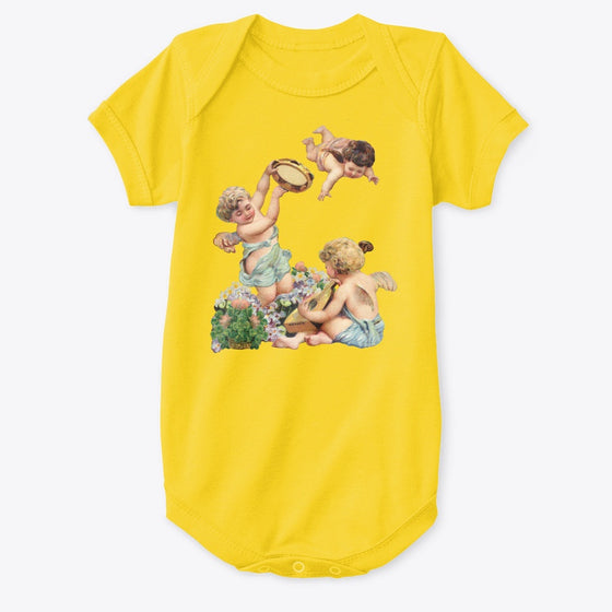 Classic Cotton Baby Bodysuit with Cherubs Playing Music Art Print Yellow
