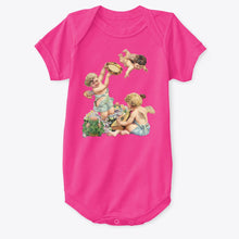 Classic Cotton Baby Bodysuit with Cherubs Playing Music Art Print Hot Pink