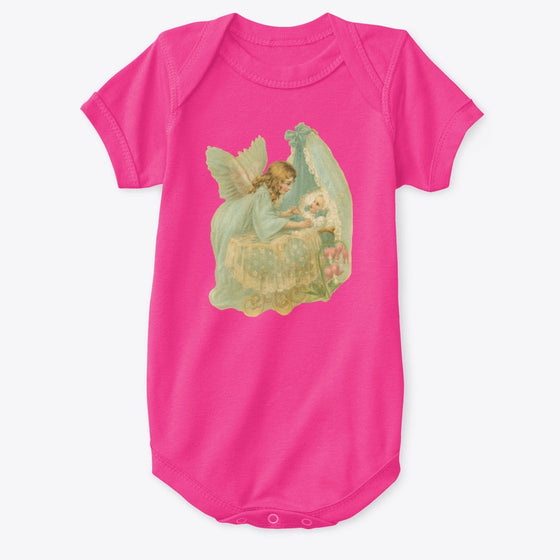 Classic Cotton Baby Bodysuit with Angel over Bassinet Art Print Hot Pink