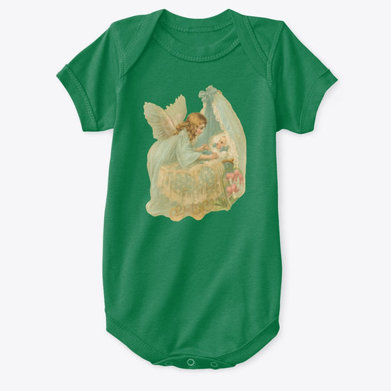 Classic Cotton Baby Bodysuit with Angel over Bassinet Art Print Green