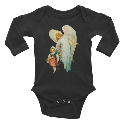 Infant Long Sleeve Cotton Baby Bodysuit Guardian Angel with Girl