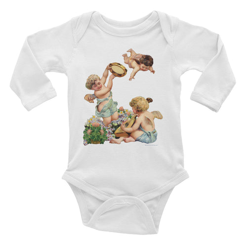 Infant Long Sleeve Cotton Baby Bodysuit Cherubs Playing Music