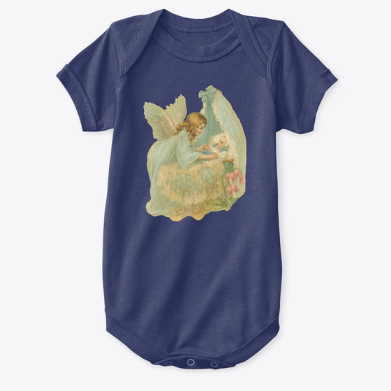 Classic Cotton Baby Bodysuit with Angel over Bassinet Art Print Navy