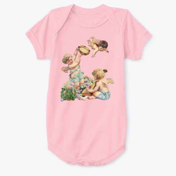Classic Cotton Baby Bodysuit with Cherubs Playing Music Art Print Pink
