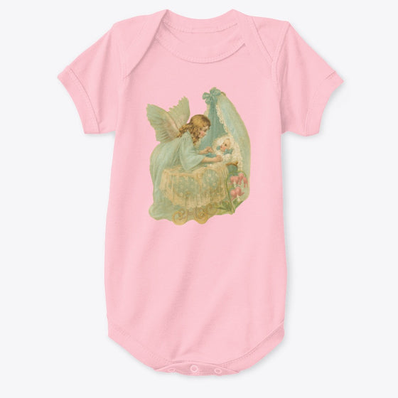 Classic Cotton Baby Bodysuit with Angel over Bassinet Art Print Pink