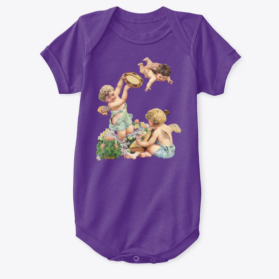 Classic Cotton Baby Bodysuit with Cherubs Playing Music Art Print Purple