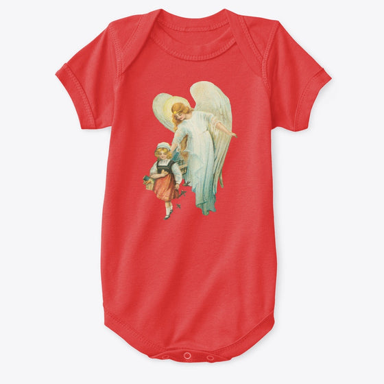 Classic Cotton Baby Bodysuit with Guardian Angel and Girl Art Print Red