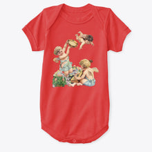 Classic Cotton Baby Bodysuit with Cherubs Playing Music Art Print Red