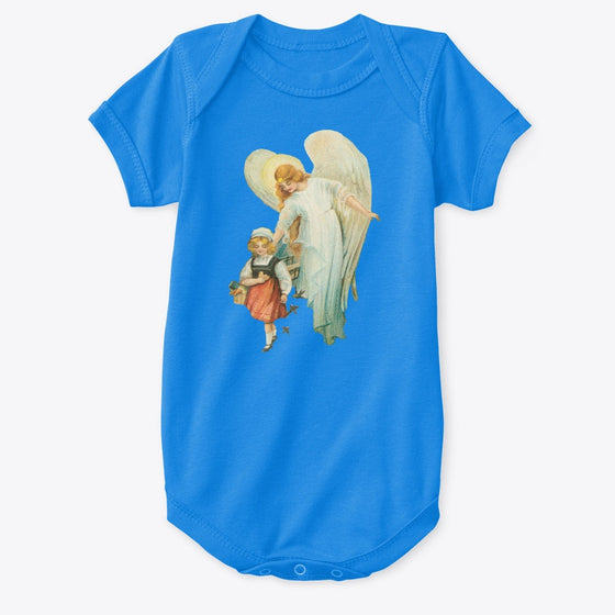 Classic Cotton Baby Bodysuit with Guardian Angel and Girl Art Print Royal
