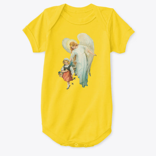 Classic Cotton Baby Bodysuit with Guardian Angel and Girl Art Print Yellow
