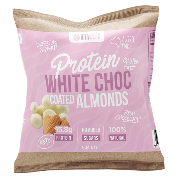 VITAWERX WHITE CHOC COATED ALMONDS