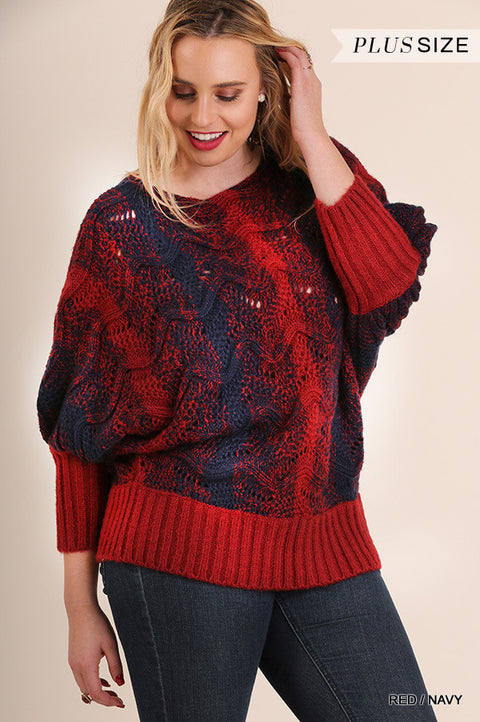 PLUS CHUNKY KNIT SWEATER WITH PUFFY SLEEVES