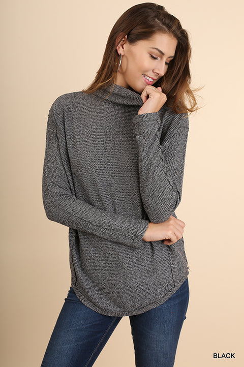 Turtle Neck Top with Scalloped Hem