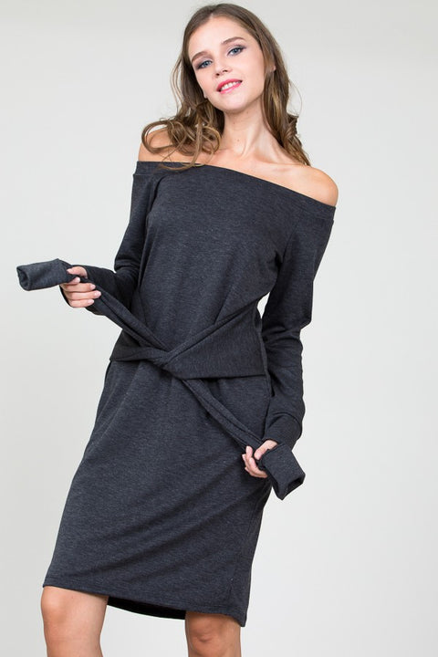 French Terry Off the Shoulder Midi Dress with Waist Tie