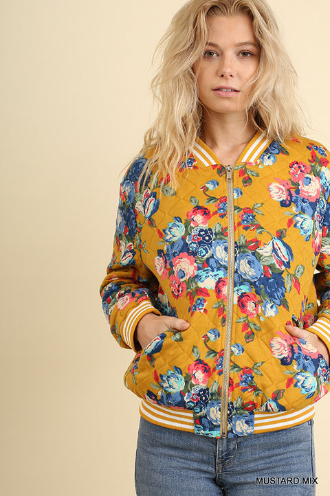 Floral Print Zipper Jacket with Pockets