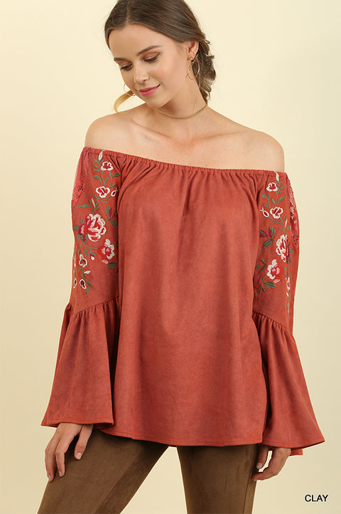 Suede Off Shoulder Bell Sleeve Top with Floral Embroidery and Lace Trim