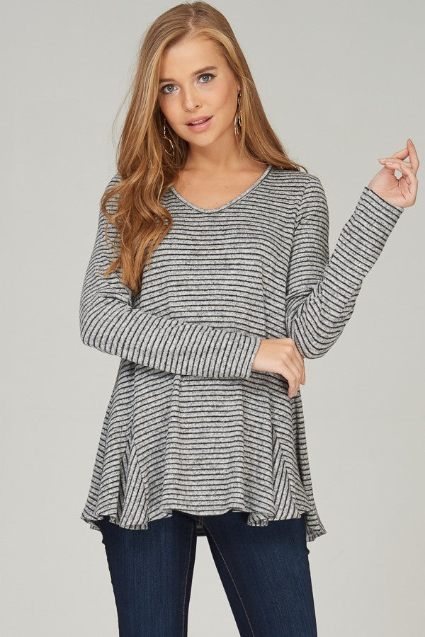 Relaxed Pin Stripe Brushed Soft Knit V-Neck Shirt with Flare Detailing